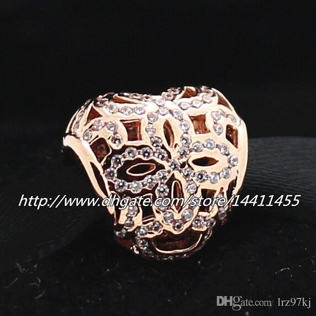 2015 Opework Heart Charm 925 Sterling Silver RoseゴールドメッキビーズCZフィットヨーロッパPandoraジュエリーブレスレットネックレスネックレス