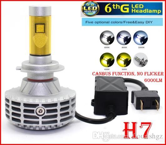 2016 El más nuevo 1 Set H7 CREE 80W 6000LM LED Faro XHP50 Fanless Todo en Uno CANBUS Sin Error Flicker Conversión Kit Single Beam LED Bulbs