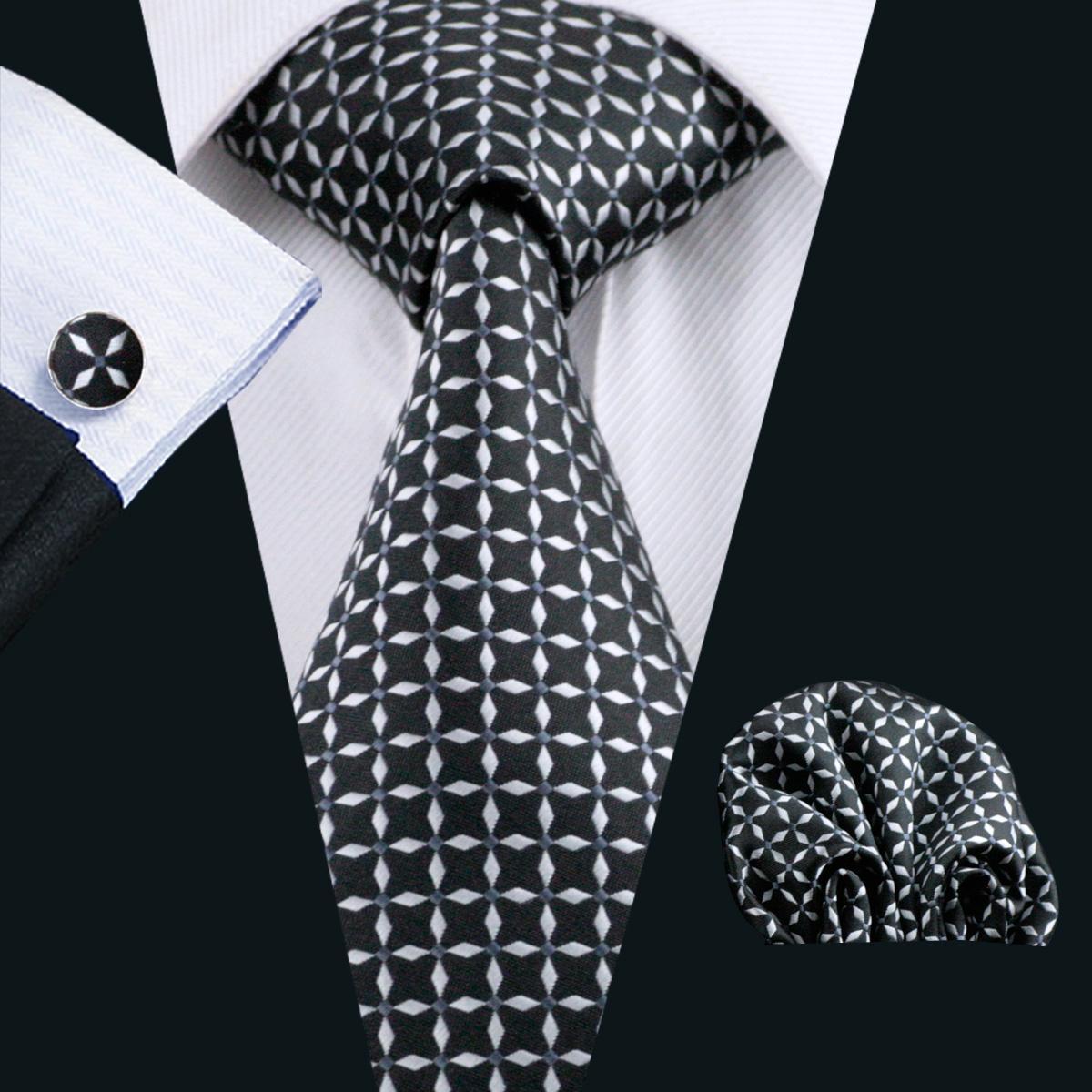 Menns Tie Top Selling Black Tie Set Silk Hankerchief Manchetknopen Mens Jacquard Geweven Klassieke Zakelijke Stropdas Set N-0527