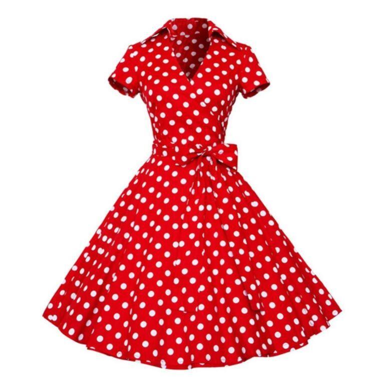 Compre Más El Tamaño S 4xl Mujeres Retro Vestido 50 S 60 S Vintage Rockabilly Swing Vestidos Femeninos Cuello En V Manga Corta Dot Vestido Estampado