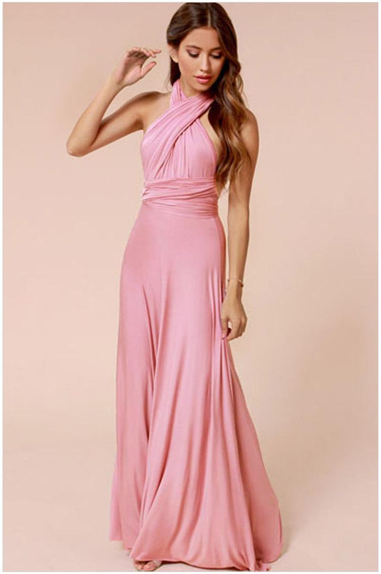 المرأة الأوروبية الجديدة أنيق طويل حزب اللباس أكمام عارية الذراعين سليم فستان ماكسي الوردي