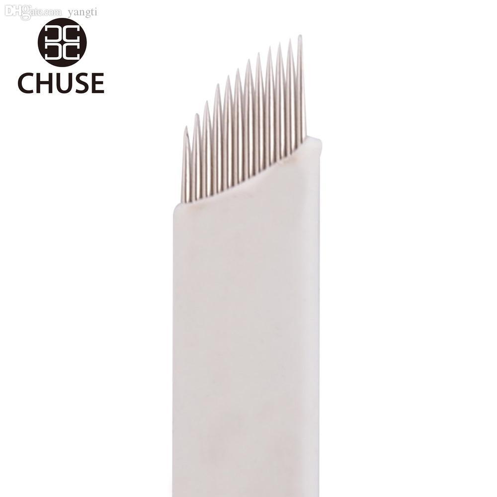 Wholesale-100pcs/lot Chuse S12 Fashion Permanent Eyebrow  Tattoo Bevel Blades 12 Needles for Manual Tattoo Pen Free Shipping