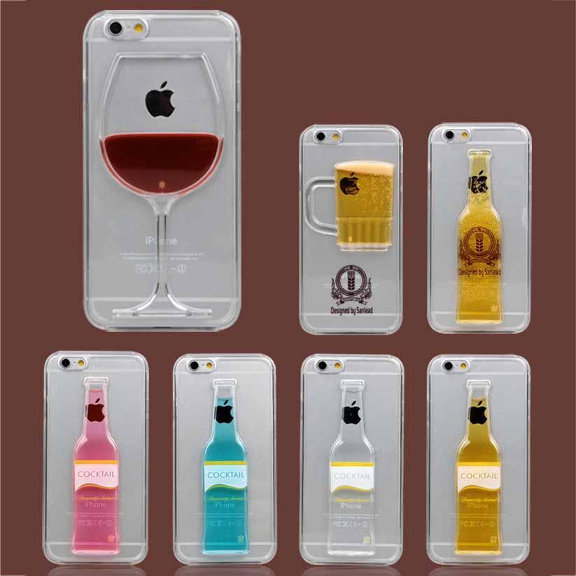 Lumineux Liquide De La Bière Cocktail Vin Rouge 3D Cas Dur De Couverture Arrière Coque Pour IPhone 4S 5S 6 6 Plus Samsung S5 S6 Proposé Par Ljsha, ...