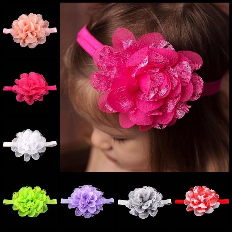 Neue Ankunft Baby Mädchen Blume Stirnband weiche Spitze Blume und Satin Rose Blume mit Strass Stirnbänder Haarschmuck 16 Farbe