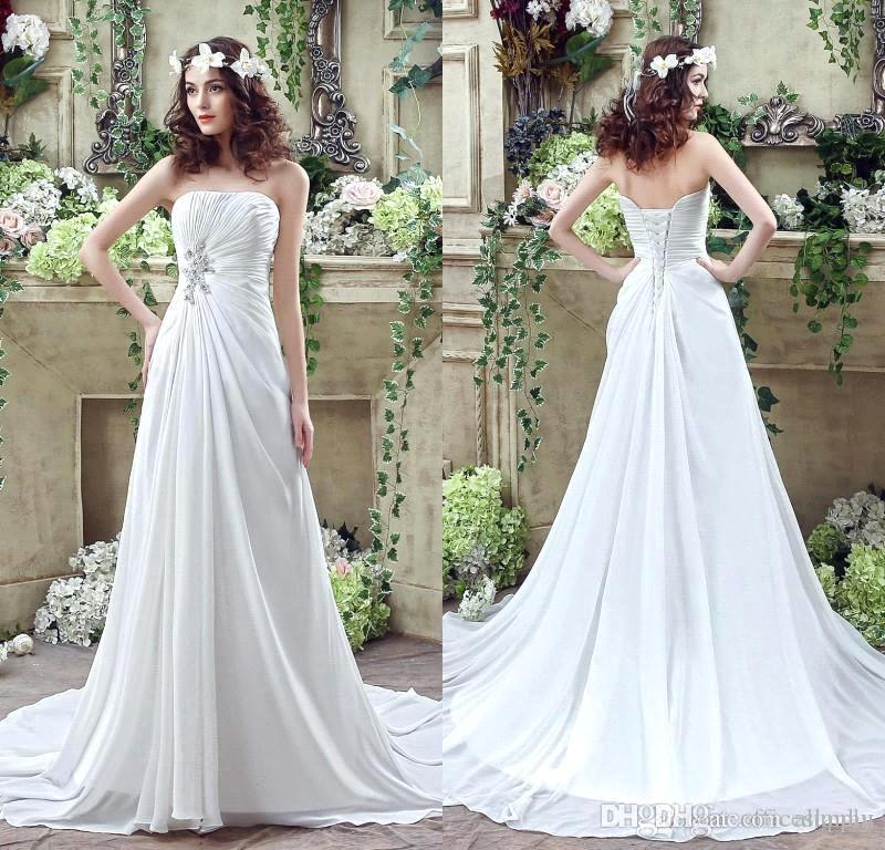 Discount 2016 100 Real Image Strapless Beach Wedding Dresses Strapless Pleats Ruched Chiffon Beaded Bohemian Bridal Gowns With Corset Back Cps237