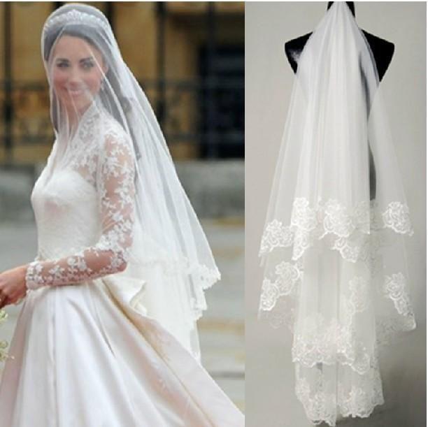 2015 Princess Kate Bridal Veils Billiga Lace Wedding Veil I lager Gratis Frakt Bröllop Tillbehör Bröllop Veil Fingertip Längd Skräddarsy