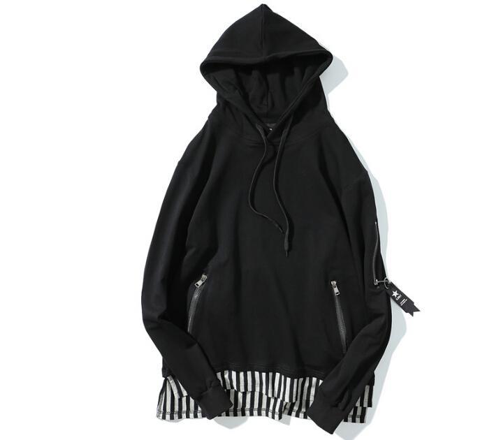 남성 Oversize Black Hoodies 가짜 2pcs 후드 스트라이프 디자인 High Street Pullovers 긴 패치 셔츠 탑 남성 의류