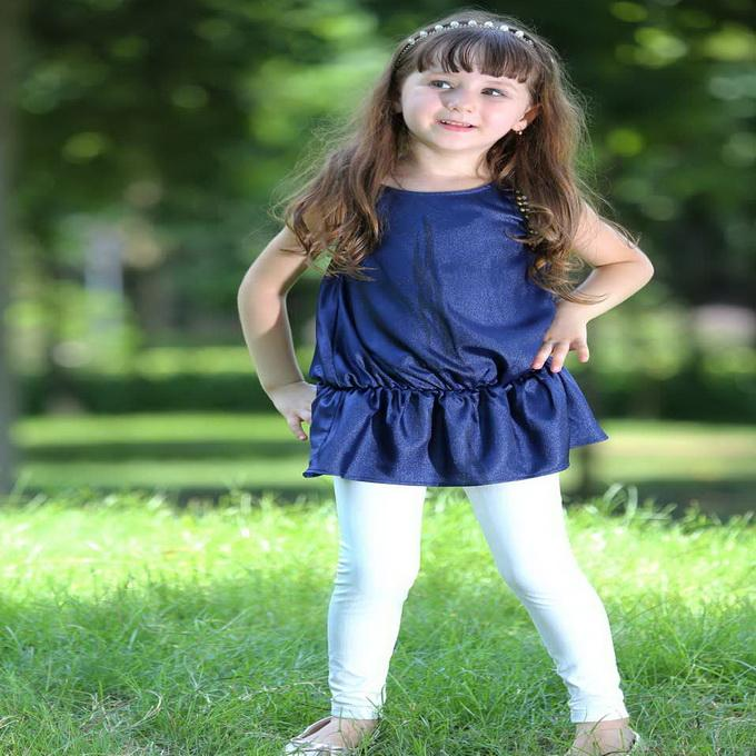 Pettigirl Retail New Arrival Navy Blue Girls Top And Pure White Leggings 2Pcs Girls Casual Suits Wholesale Kids Clothing CS80630-10