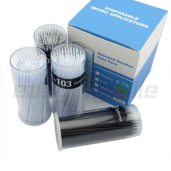 Trasporto all'ingrosso-easyinsmile 400 Pz Dental monouso Micro applicatore Brush cilindro flessibile in bianco e nero Dia.1.2 MM