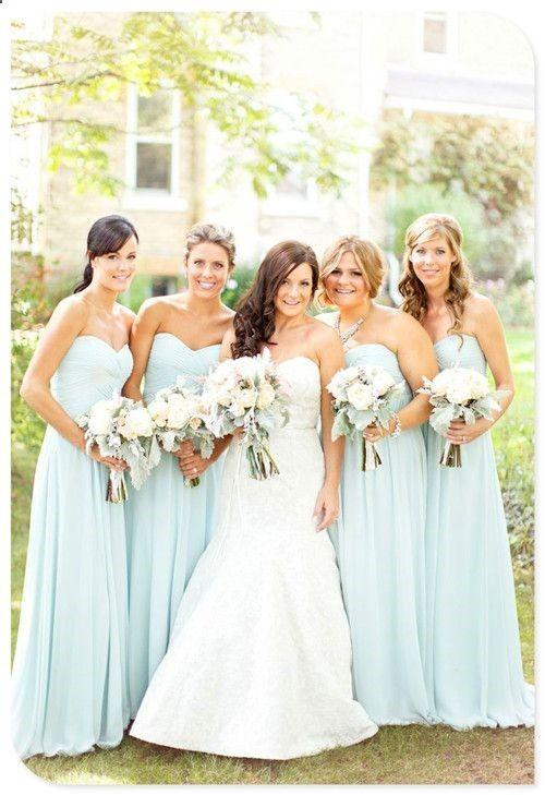 2015 Cheap Light Sky Blue Chiffon Bridesmaid Dresses Floor Length A Line Wedding Party Dresses For Bridesmaid with Pleats Homecoming Dresses
