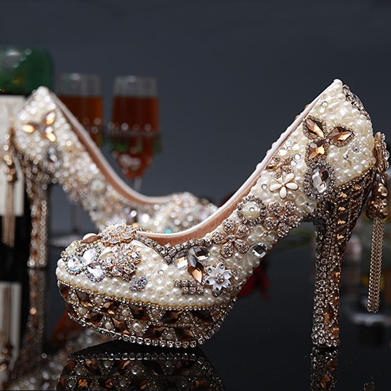 Sweet Tassel Pearl Crystal Round Toe Ladies shoes Women High Heels Evening Prom Party Wedding Dress Luxury Bridesmaid Shoes