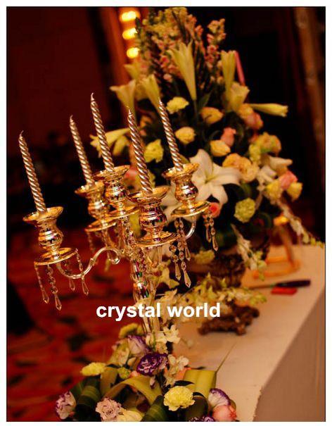 Güzel Kristal Mumluk / Akrilik Kristal Düğün Centerpieces / Masa düğün için şamdanlar dekor