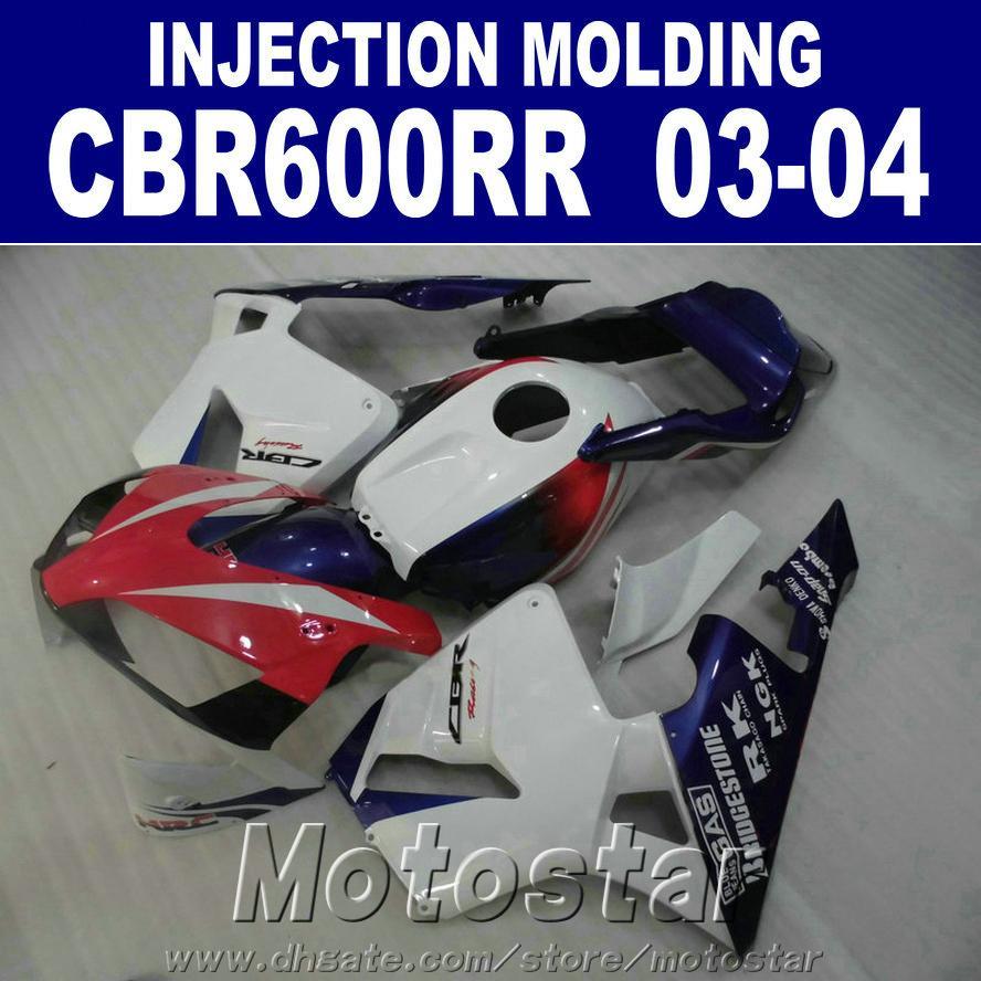 HONDA CBR için 7 Hediyeler + Ücretsiz kukuletası beyaz mavi 600RR kaporta 2003 2004 Enjeksiyon Kalıplama 03 04 CBR600RR abs kaporta kiti LC0S