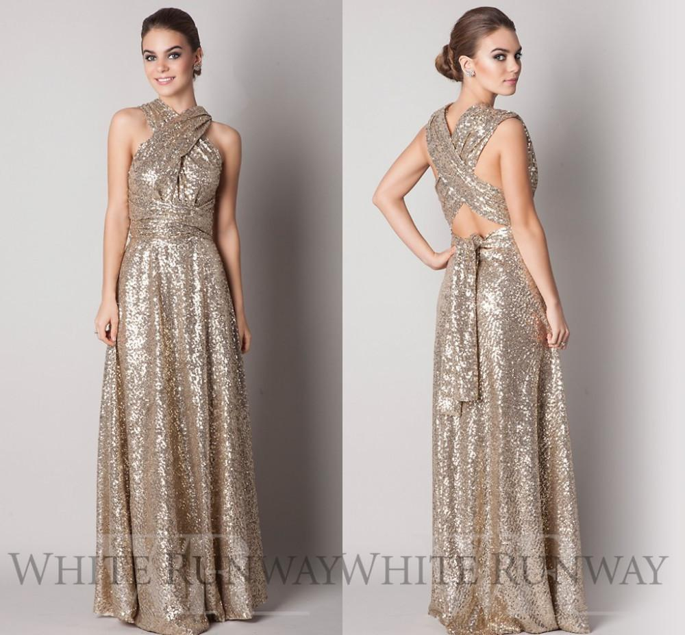 af57b8350201f2 Rose Gold Sequins Bridesmaid Dress 2015 Sparkly Convertiable A Line Floor  Length Long Plus Size Custom Made Maid Of Honor Evening Dresses