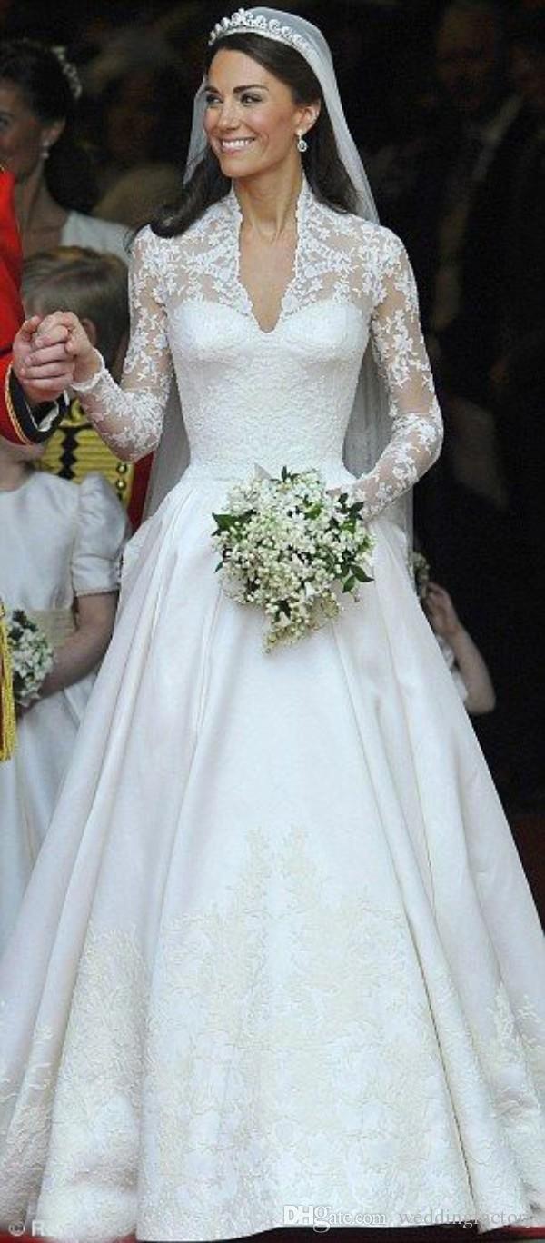 Compre Impresionantes Vestidos De Novia Kate Middleton Vestidos De Novia Modestos Reales Encajes Mangas Largas Volantes Tren De La Catedral Por