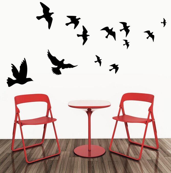 Pájaros tallados Pegatinas de Pared Pájaros Voladores Etiqueta de La Pared Flying Pigeon Sticker Decoración Del Hogar Postes Sofá Telón de Fondo Pegatinas Calcomanías