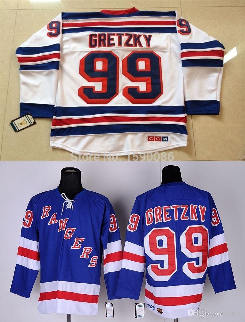 Нью-Йорк Рейнджерс Джерси 99 Уэйн Гретцки Джерси синих белых Оптовой NY Rangers лед хоккей подгонять любое имя любого номера