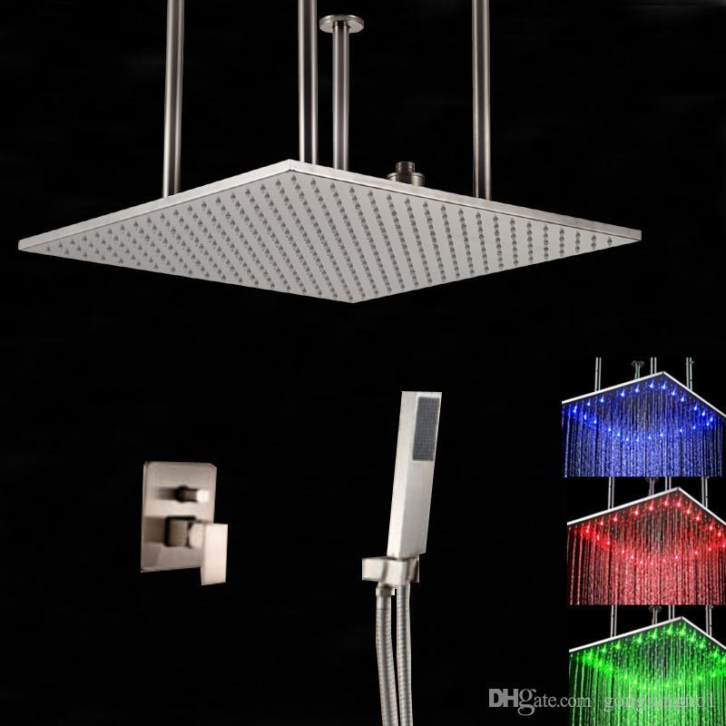 Оптовые и розничные светодиодные изменение цвета никель щеткой 50 см дождь душ клапан смеситель ж / ручной душ распылитель
