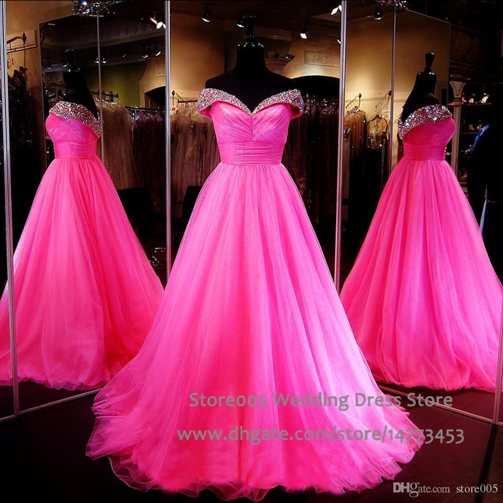 97e9a5a23a Exotic Fuschia Prom Dresses Real Pictures 2015 Off The Shoulder Pageant  Dress For Women Pleat Beaded Crystal Evening Gowns L028 Peach Prom Dresses  ...