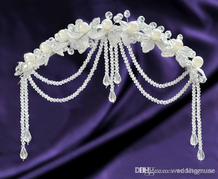 أعلى جودة شحن مجاني الأميرة الديكور اللؤلؤ الزفاف التيجان مجوهرات كريستال الشعر الحلي الساحرة اكسسوارات للشعر DL1311270