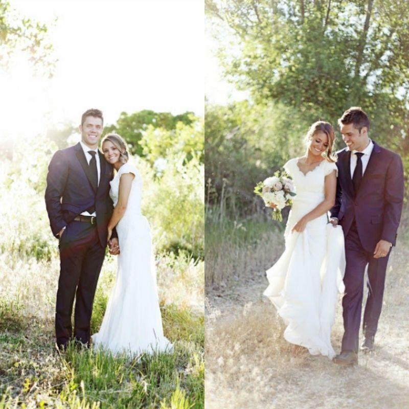 2015 abiti da sposa stile country occidentale del merletto della sirena del collo a V popolare