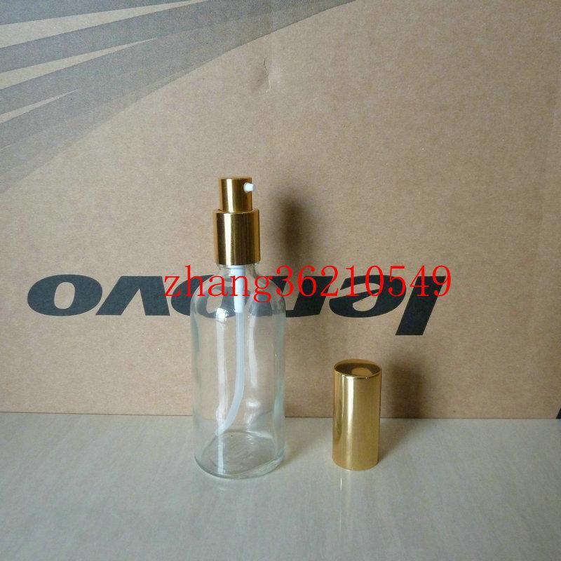 100ml 투명 / 투명 유리 로션 병 알루미늄 반짝 이는 골드 pump.for 로션과 에센셜 오일. 로션 크림 용기