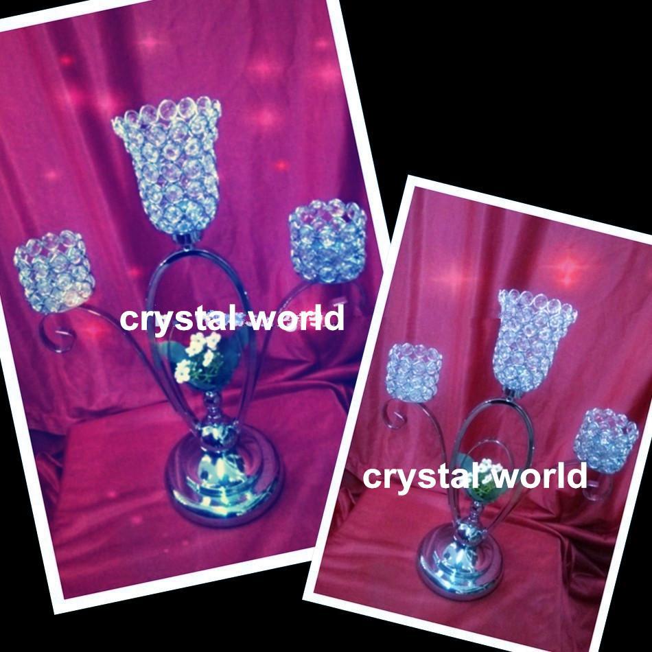 высота 5-руки металлические канделябры с хрустальными маятниками, блестящая серебряная отделка свадебный Кристалл подсвечник