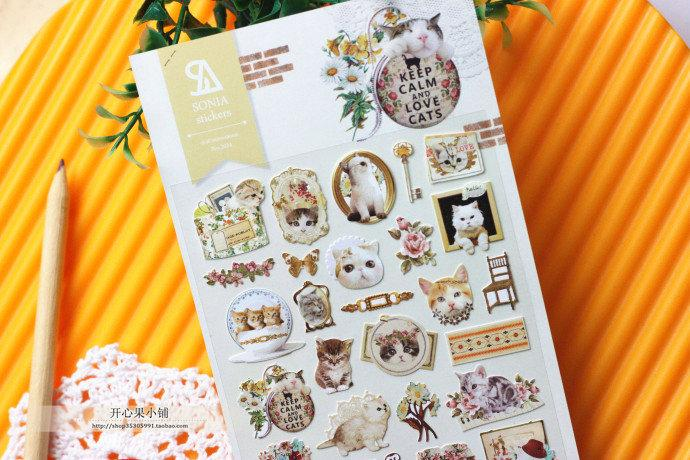 Envío gratis / nuevo estilo de la vendimia etiqueta engomada decorativa de papel de la vendimia gato encantador / diy etiqueta conjunto