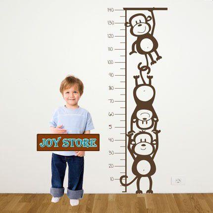 Monkey Height Chart - Wall Decal Children's Room or Baby Nursery Vinyl Sticker Vinyl Wall Art Decal 50*140CM Free shipping