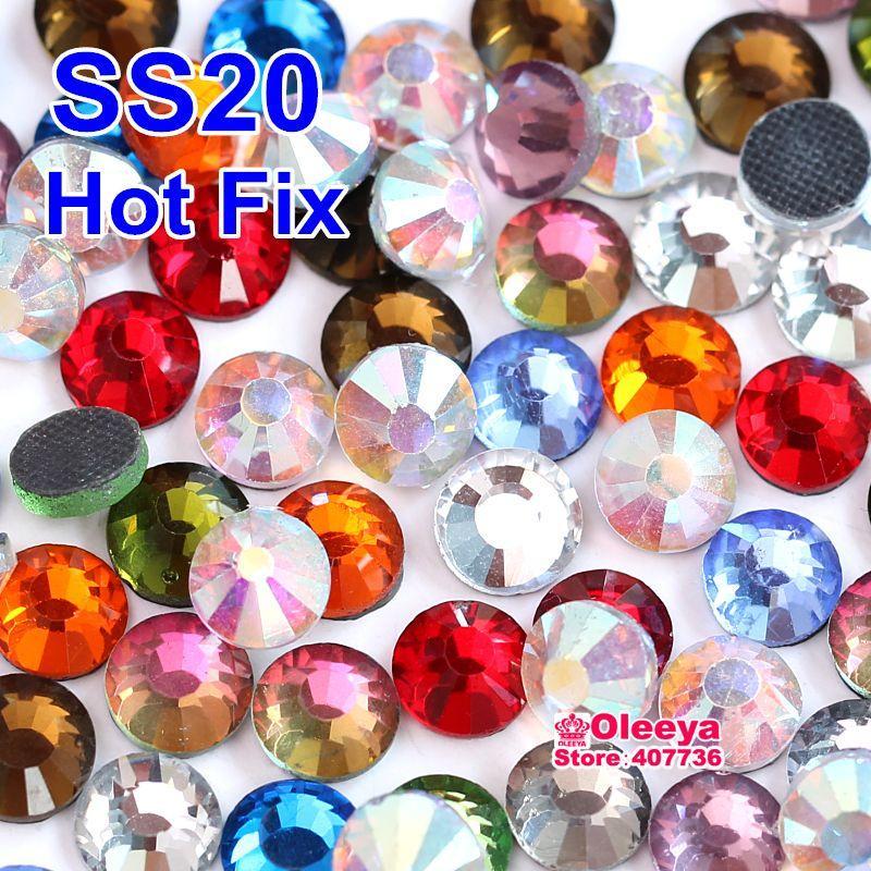 Colores mezclados ! 1440 unids / bolsa SS20 DMC HotFix Rhinestones Flatback Hot Fix Crystal Piedras Sueltas Y0018