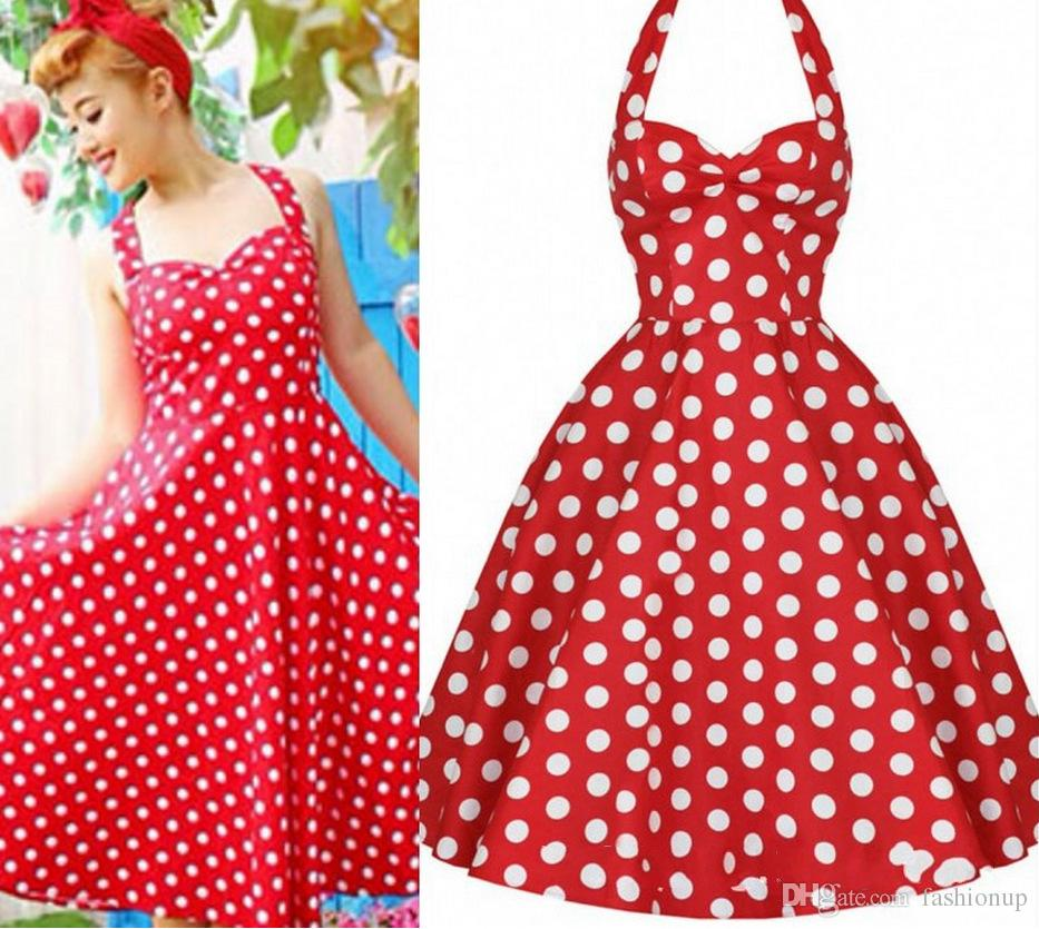 Wholesale 2015 New Women Vintage Cute Polka Dot Dress Evening ...