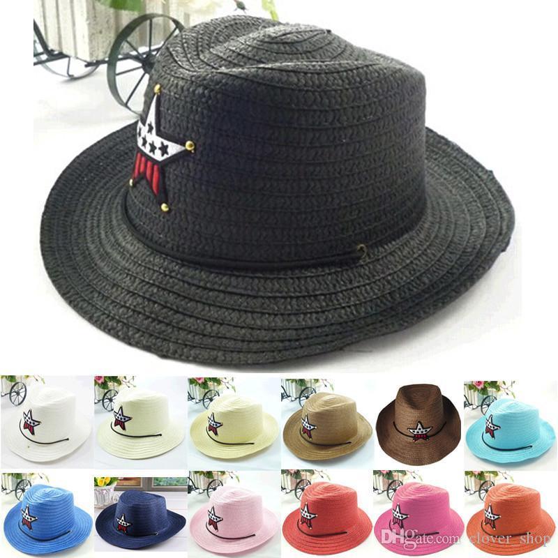 2015 chapeaux de soleil pour bébé chapeaux de paille pour les enfants enfants grands chapeaux de plage bord bord chapeau bébé garçons filles chapeaux d'été
