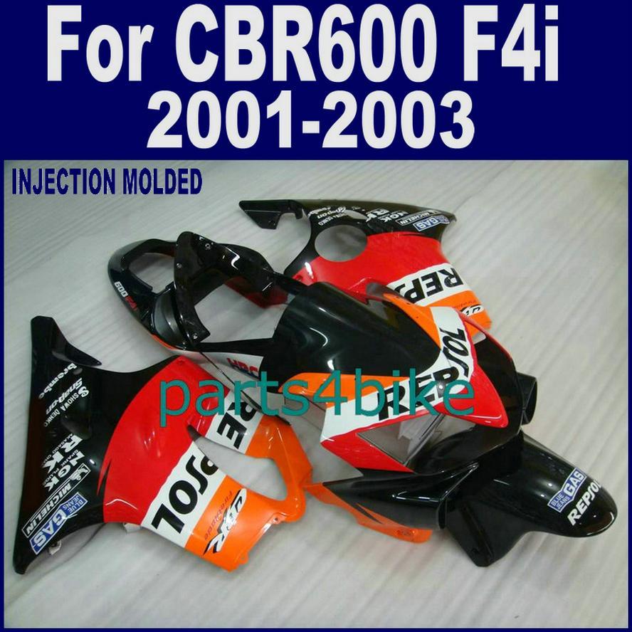 100٪ racing أطقم هياكل الحقن لهدايا HONDA CBR 600 F4i 01 02 03 CBR600 F4i 2001 2002 2003 أسود أحمر أصفر