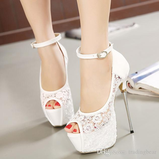 Bridal White Lace Wedding Shoes Designer Shoes Ankle Strap 16CM Sexy Super High Heels prom dress shoes 2 Colors SIZE 35 TO 40