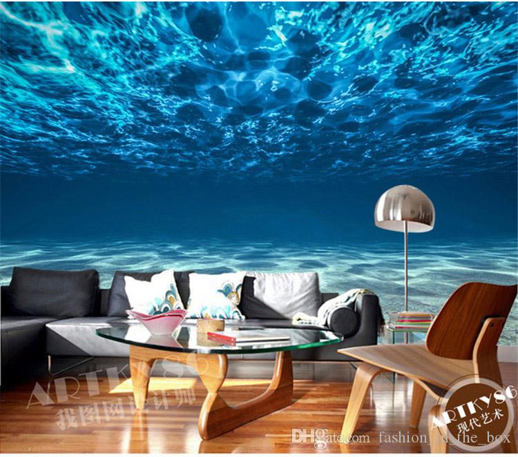 Charming Deep sea Photo Wallpaper Custom Ocean Scenery wallpaper Large Mural Silk Wall painting Kids Bedroom Art Room Decor Home Decoration