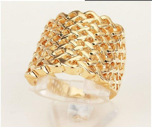 Free Shipping Valentine's Gift For Women/Men 18k Gold Plated Rhombus Ring Jewelry Charm Jewelry Size 8.5