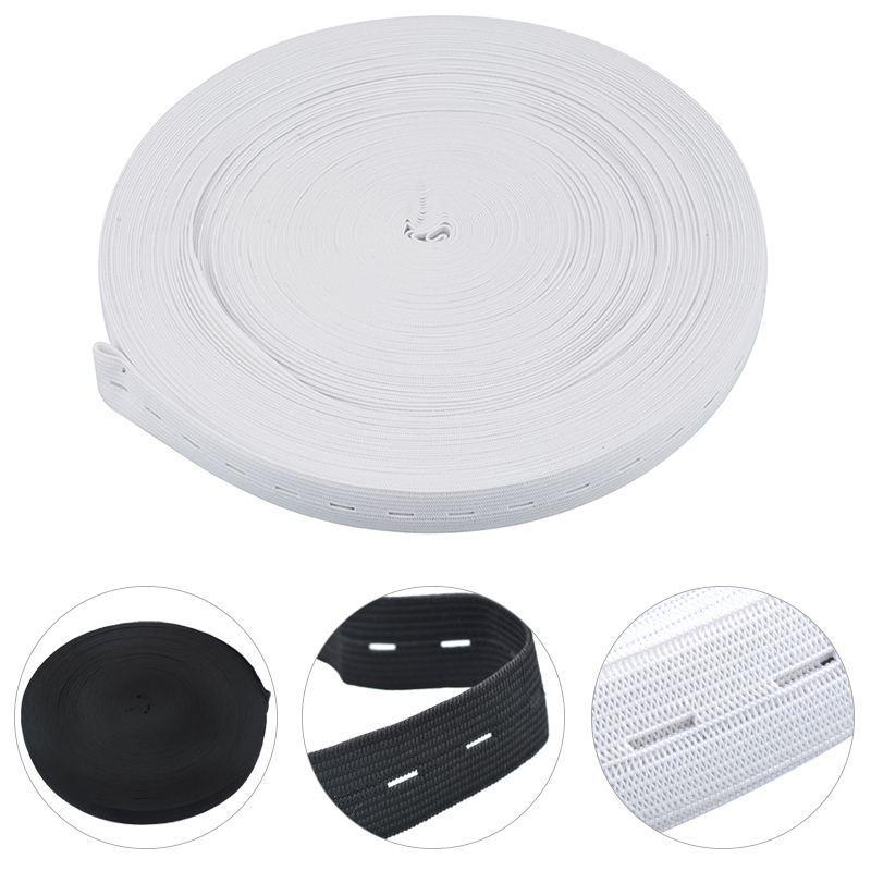 10 M Düğme Delik Örgü Elastik Band Şerit DIY Dikiş Aksesuarları 20mm Beyaz Ve Siyah Seçebilirsiniz