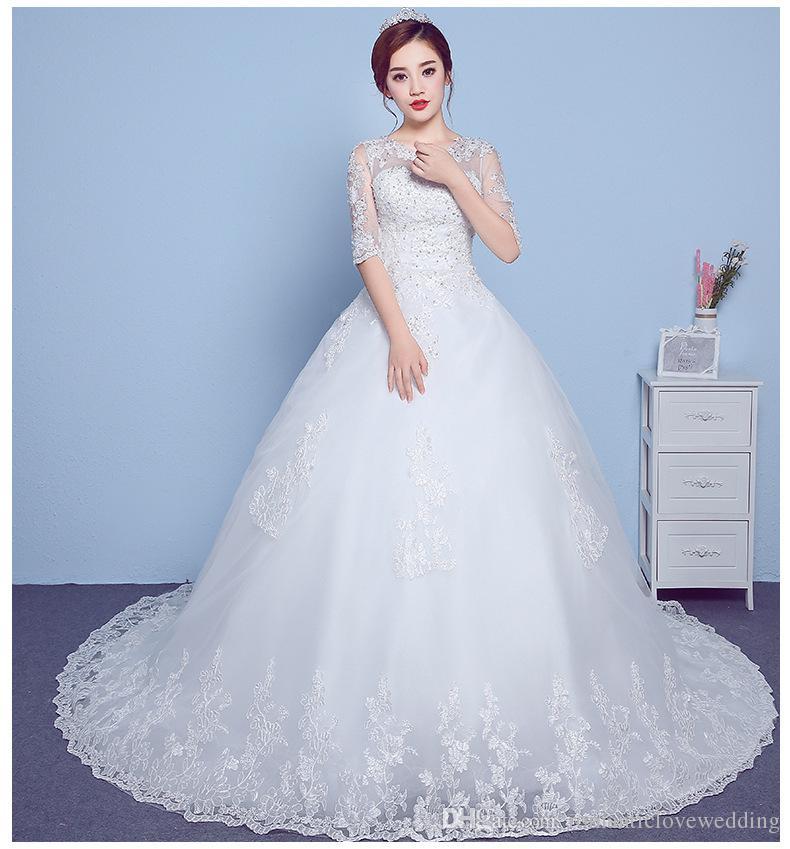 Quality O Neck Half Sleeves White Wedding Dress Bride Wedding Frocks ...