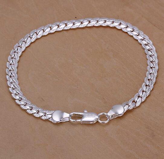 !Бесплатная доставка 925 серебряные браслеты браслеты мода стерлингового серебра ювелирные изделия, 5 мм боком браслет 10 шт.