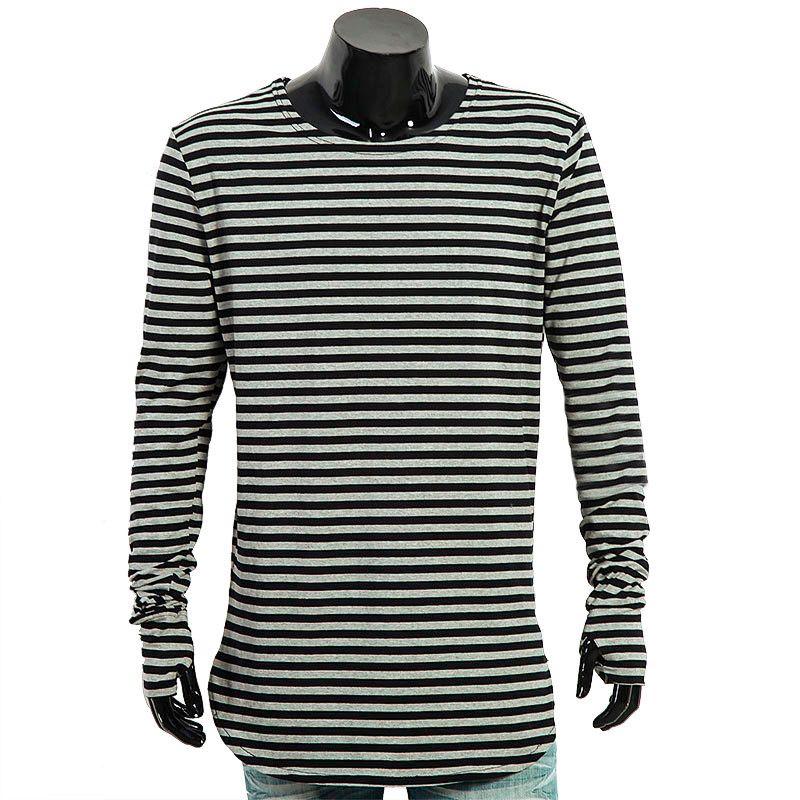 2016 Men t shirts tyga hip hop swag striped long sleeve t shirt extended kanye west men oversized tee shirt homme t shirt men (3)