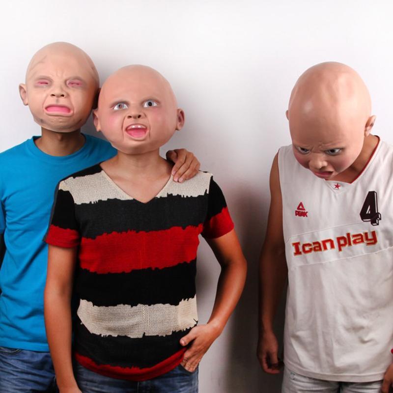 Gorąca Sprzedaż Realistyczny Lateks Zły Szczęśliwy Krawat Baby Costume Urodziny Halloween Maska Full Head Party Maski Mailleina Joke Maska