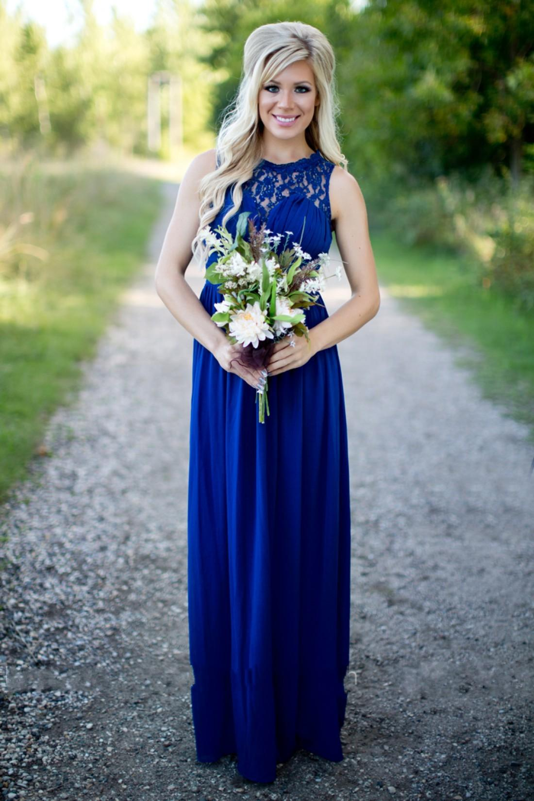 2020 Country Royal Blue Bridesmaid Dresses For Weddings Chiffon Lace  Illusion Jewel Neck Beads Plus Size Party Maid Of Honor Gowns Under 100  Rose ...