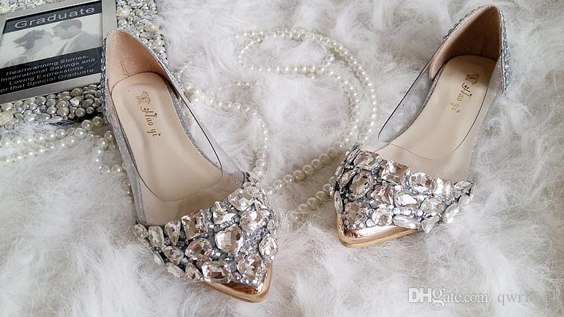 6d5efcd07f 2015 New Wedding Shoes Handmade Silver Rhinestone Flat Shoes Elegant Lady  Dress Shoes Transparent Boat Shoes Bridal Shoes Canada 2019 From Qwr1314,  ...
