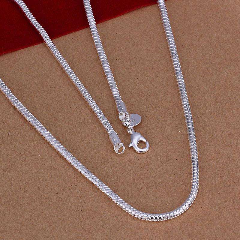 Factory price 925 sterling silver snake chain necklace 3MM 16-24inches classic fashion jewelry Top quality Free Shipping