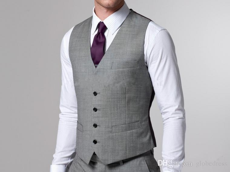 Cheap 2015 Silver Grey Tuxedos Hot Sale Men Suits Two Buttons Wool ...