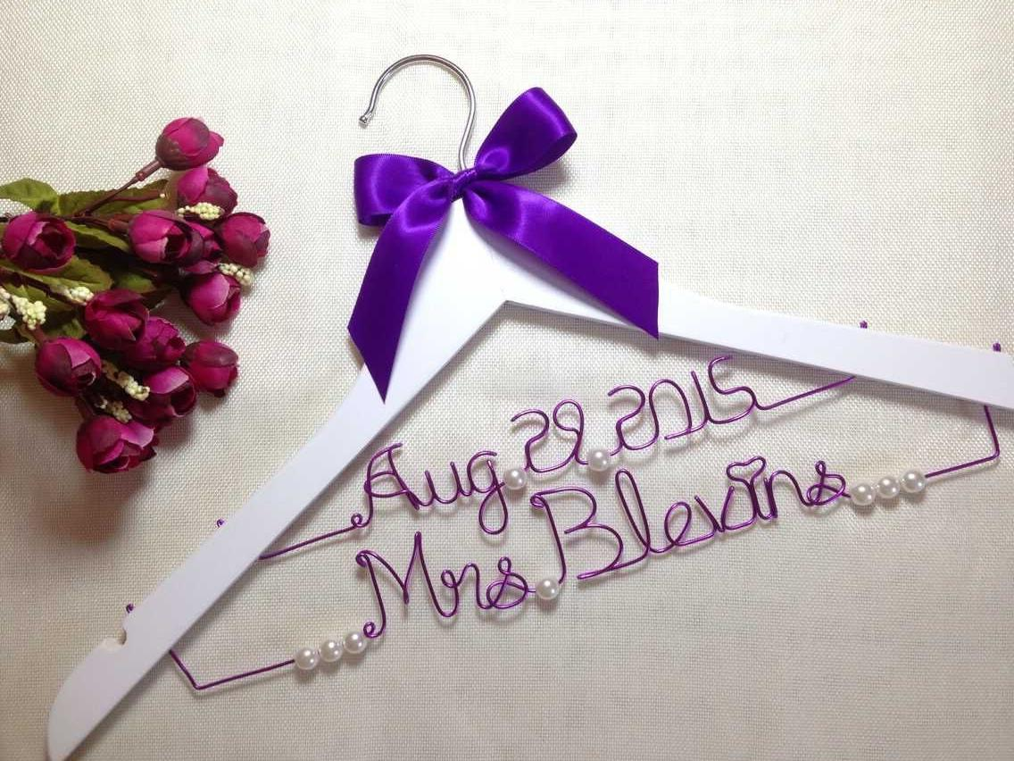Personalized Wedding Hanger With Date,Wire Name Hanger Bridal ...