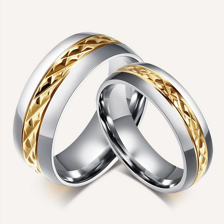 Обручальные кольца Gird Fashion Tone персонализированные в лазерной гравировке из нержавеющей стали