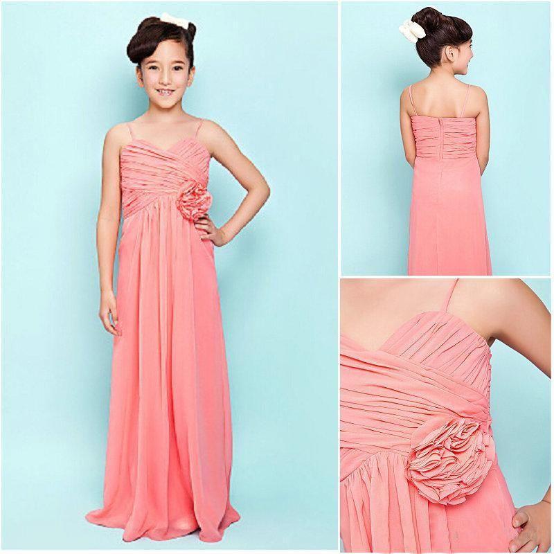 Elegant Junior Bridesmaid Dress A Line Ruffle Spaghetti Straps