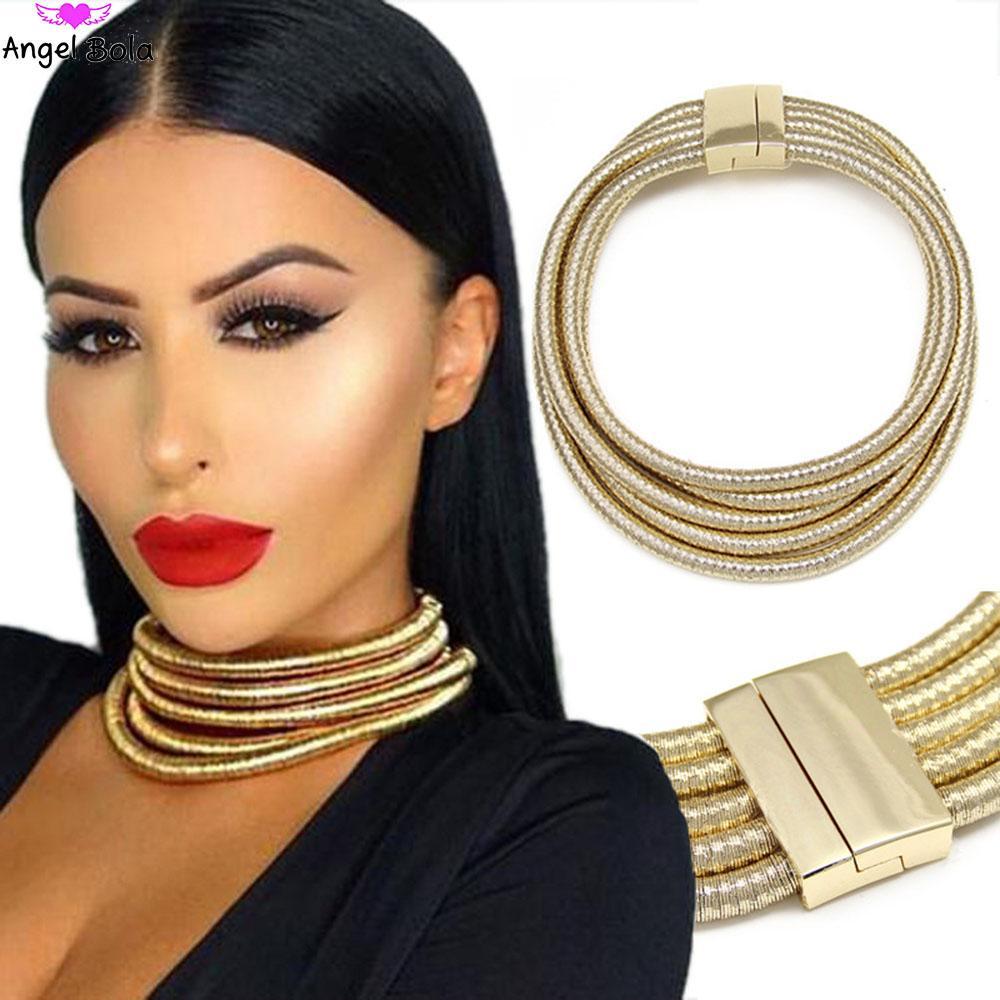 Maxi gargantillas moda imán botón de múltiples capas gargantilla collar colgante Kim Kardashian collar llamativo mujeres collar al por mayor
