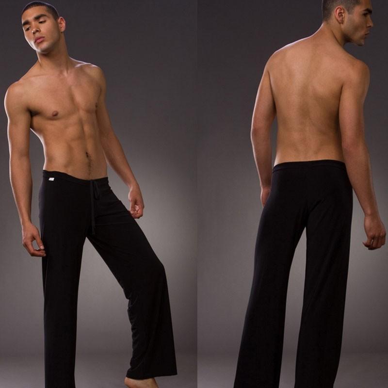2017 Mens Yoga Pants Sleep Bottoms Satin Male Trousers Casual ...